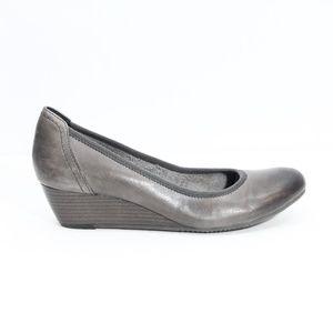 Tamaris Wedge Heels Leather Shoes Women Pumps gray